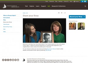 Website Integration of In-Gallery and Remote Experiences: The ECMS creates the opportunity for seamless experiences across in-gallery, personal device, and online remote end-points. For example, the Share Your Story booth which is featured in our Canadian Journeys gallery has a shared platform online through the website.