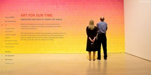 Immersive imagery illustrating people enjoying art in the galleries humanizes the content in line with SFMOMA brand tenets.