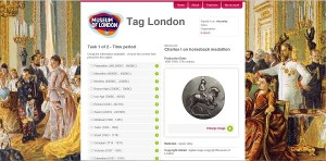 Screenshot of Tag London interface page showing an object and a list time periods