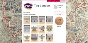 Image of Tag London interface page showing thumbnails of objects tagged and a bronze badge