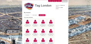Image of Tag London interface page showing thumbnails of student avatars