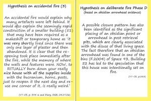Figure 7. Cards used for the theme of 'Fire Debate'. The left card includes different types of evidence from different resources that support the hypothesis of 'accidental fire' in Building 52, while the right card includes a single source of evidence to support the hypothesis of 'Deliberate Fire' in the same building.