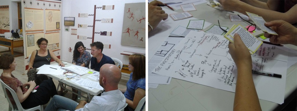 Figure 8. Participants brainstorming and storyboarding during the authoring session at the Visitor Centre, Çatalhöyük.