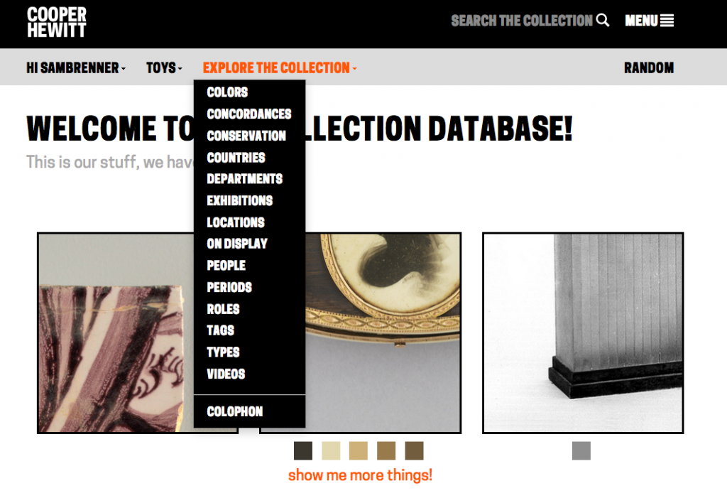 "Figure 7: The ""Explore the Collection"" dropdown menu, in its expanded state"