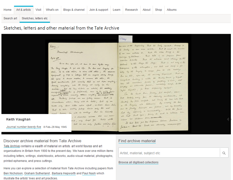 Figure 9: Screenshot showing the landing page for just the Tate Archive material, including the 'Sketches and Letters etc' navigation heading