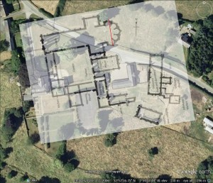 Figure 2: The floor plan of Croxden Abbey was registered to the satellite view of the site in Google Earth (Google Inc.).