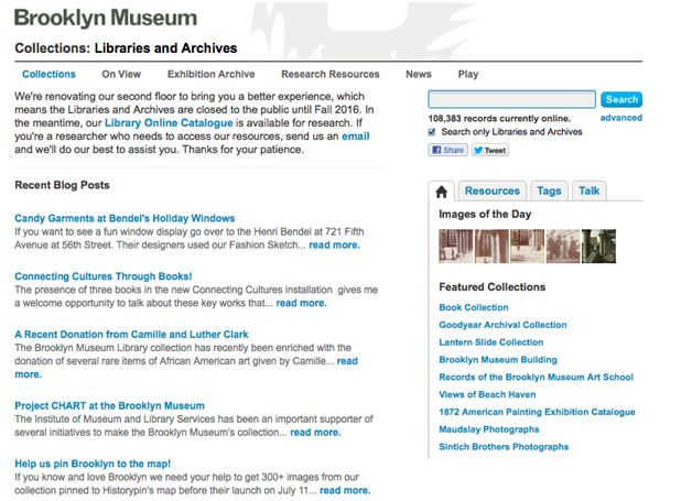 Image of Brooklyn Museum collections: libraries and archives page