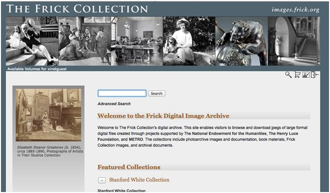Image of Frick Digital Image Archive home page
