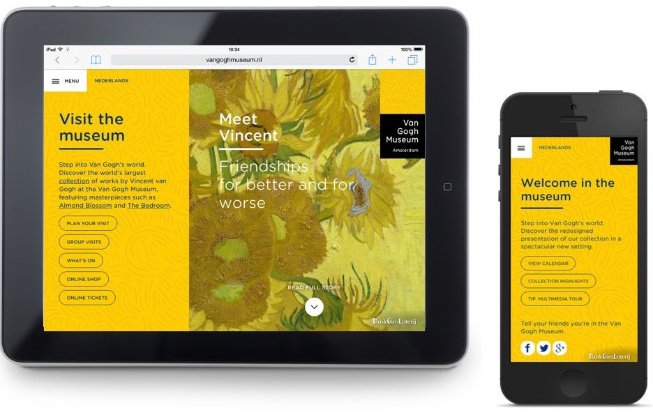Van Gogh Museum responsive website: device and location