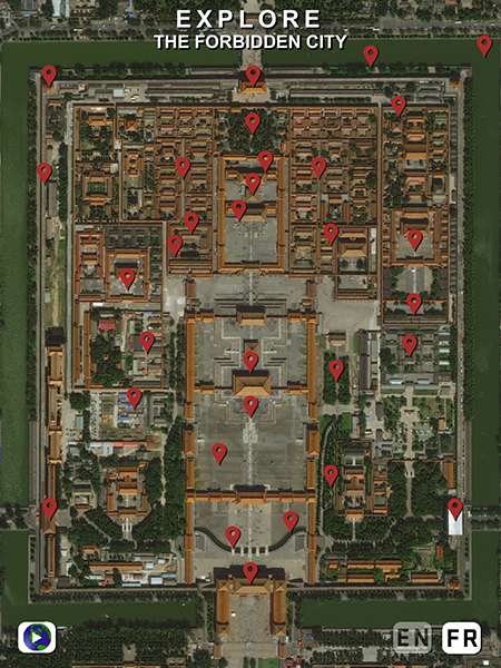 "Satellite image with red pins on it. The title says ""Explore the Forbidden City"""