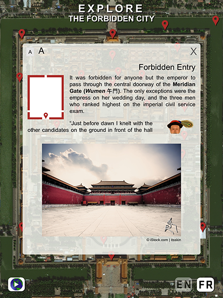 A pop-up window overlaid over a satellite image. It features a smaller map of the Forbidden City, an illustration of a man, and a photo of the gates to the city.