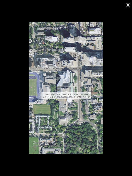 A Google Earth-generated satellite view of the Royal Ontario Museum