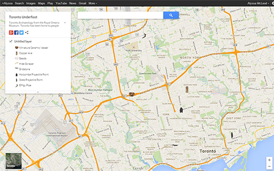 A Google Map of the city of Toronto with First Nations objects on it