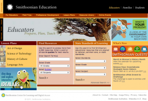 SmithsonianEducation.org educators homepage as it appeared in 2014.