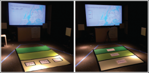 "Figure 4. Two competing designs for timeline control were tested in situ in December 2013. The horizontal ""externally consistent"" configuration (left) allowed one user to change the decade of everyone's data by stepping on a floor button. The vertical ""ego-moving"" condition (right) allowed every person to select her own decade individually."