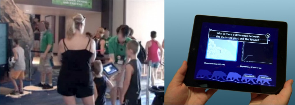 "Figure 1: Side-by-side image showing interpreters interacting with zoo guests at the temporary ""Paws"" installation, and the tablet support tool showing data representations and discussion questions that change based on the current state of the exhibit."