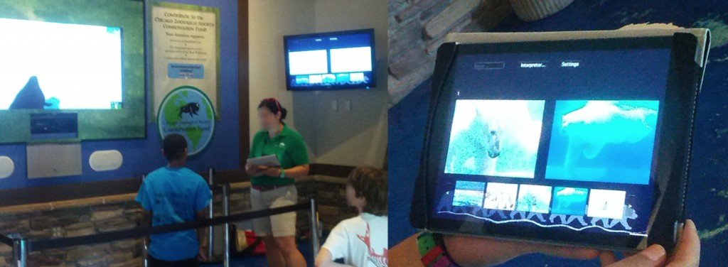 "Figure 2: Side-by-side image showing the current ""Paws"" installation at the Brookfield Zoo polar bear exhibit, and an iteration of the tablet support tool allowing interpreters to choose multimedia (images as well as live data representations) to present alone or juxtaposed with other media."