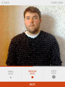 Screenshots of the Pointillize Yourself app