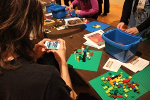 Visitors participating in LEGO Instagram activity at Phillips after 5