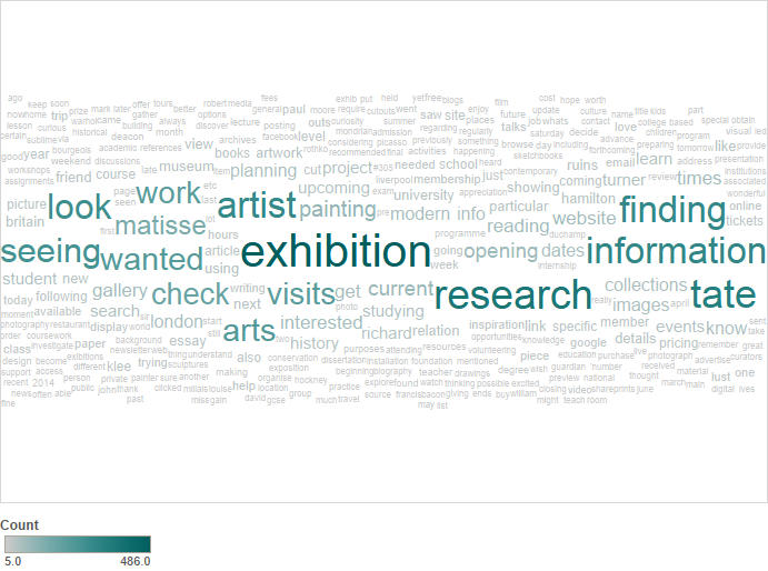 Wordcloud of the motivations described by users to visit the website