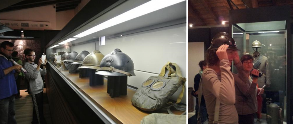 Figure 1: The indirect experience of objects in cases mediated by personal technological devices (left) contrasted with a hands-on experience (right) at the Museo Storico Italiano della Guerra (Rovereto, Italy).