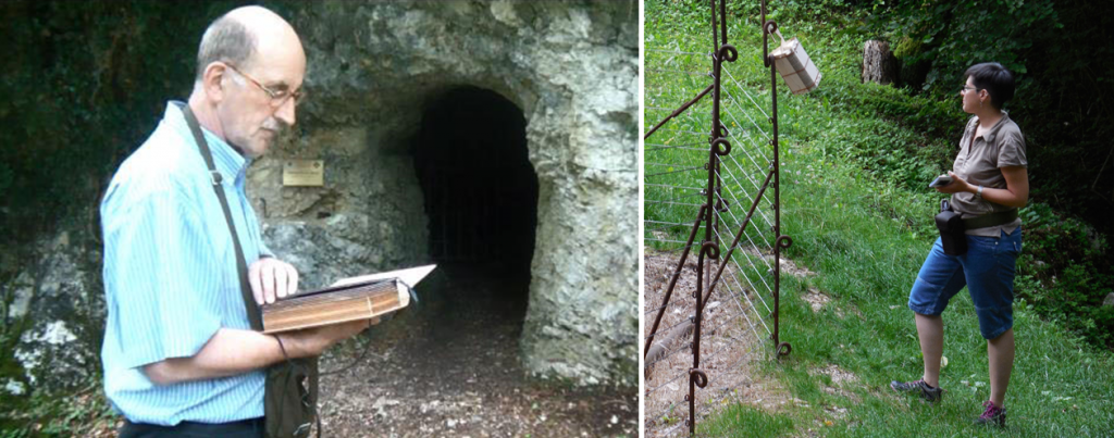 Figure 3: Cultural heritage professionals testing the Narrative in Place prototype, book version (left) and belt version (right), at the WWI trenches of Nagià Grom (Italy).